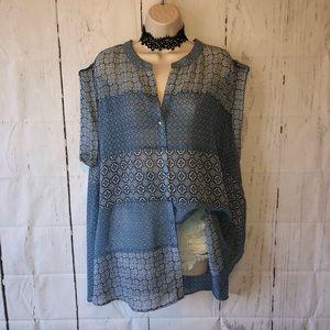 Blue boho semi sheer blouse
